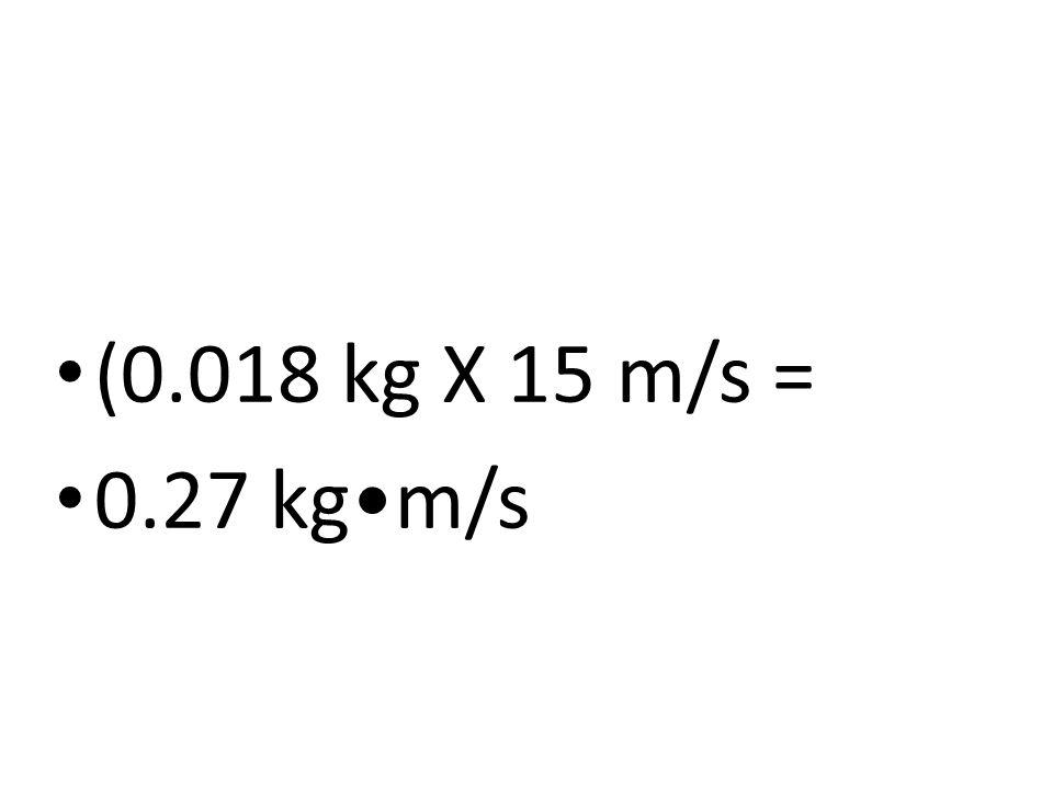 (0.018 kg X 15 m/s = 0.27 kgm/s