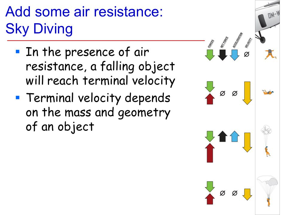 Add some air resistance: Sky Diving  In the presence of air resistance, a falling object will reach terminal velocity  Terminal velocity depends on the mass and geometry of an object