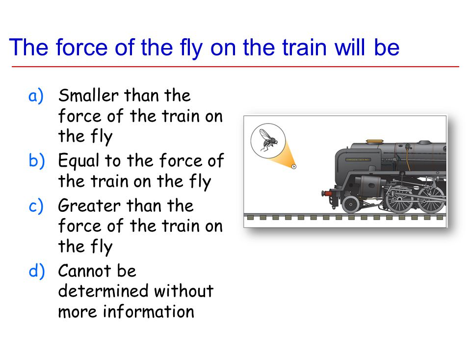 The force of the fly on the train will be a)Smaller than the force of the train on the fly b)Equal to the force of the train on the fly c)Greater than the force of the train on the fly d)Cannot be determined without more information