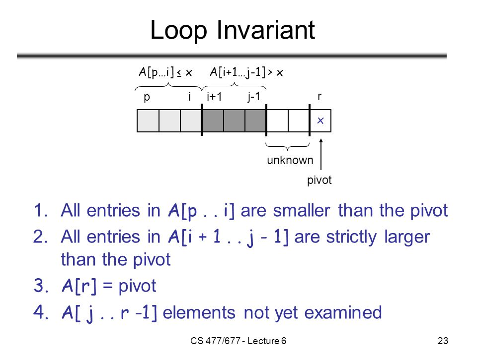 CS 477/677 - Lecture 623 Loop Invariant 1.All entries in A[p..