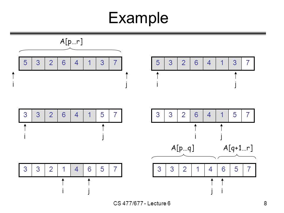 CS 477/677 - Lecture 629 Analysis of Randomized Quicksort Alg.