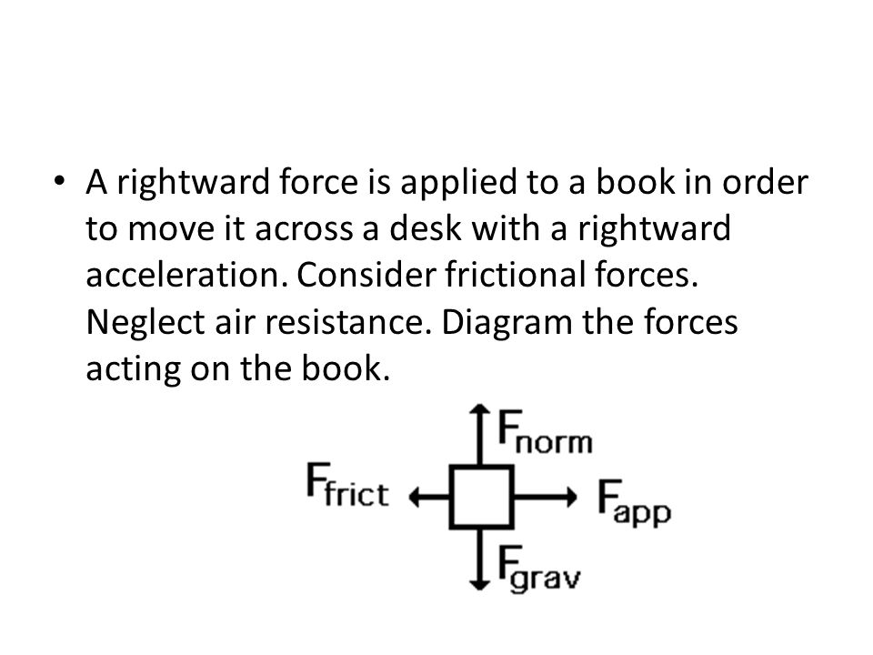 A rightward force is applied to a book in order to move it across a desk with a rightward acceleration. Consider frictional forces. Neglect air resist
