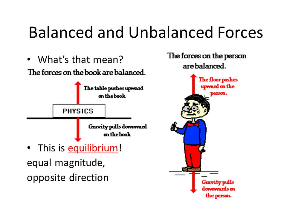 Balanced and Unbalanced Forces What's that mean. This is equilibrium.