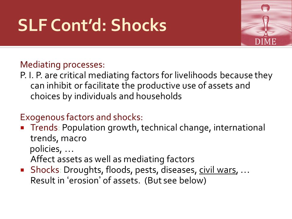 SLF Cont'd: Shocks Mediating processes: P. I. P.