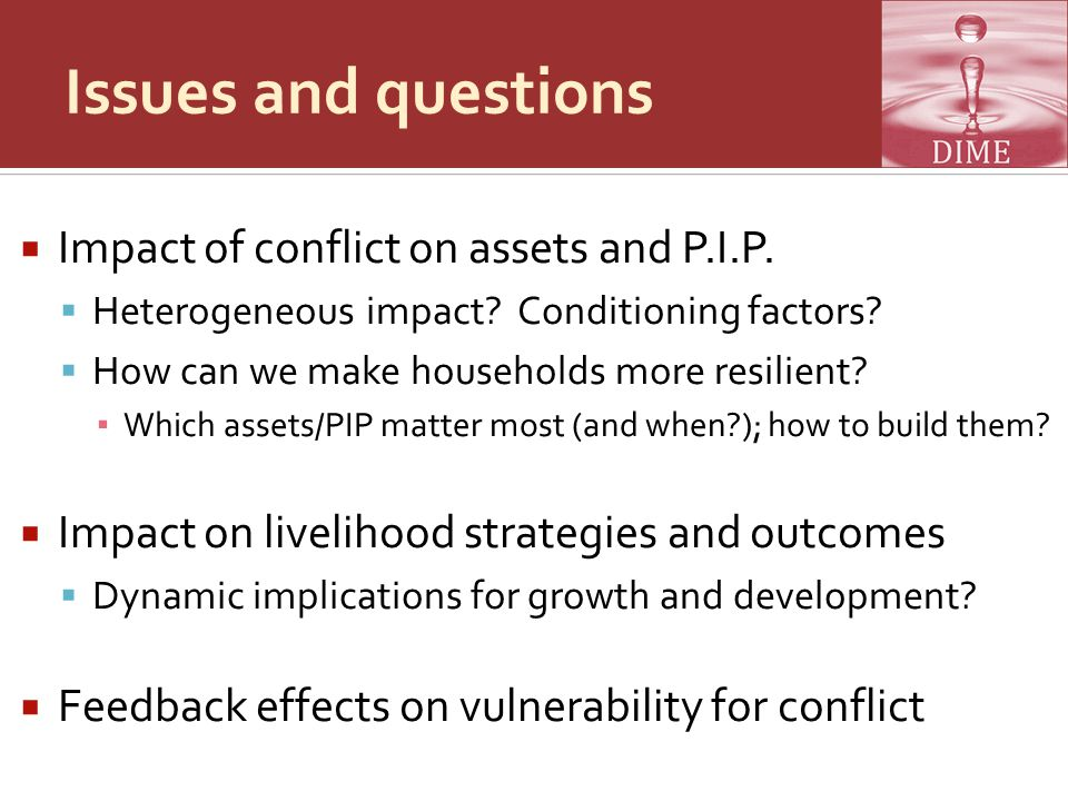 Issues and questions  Impact of conflict on assets and P.I.P.