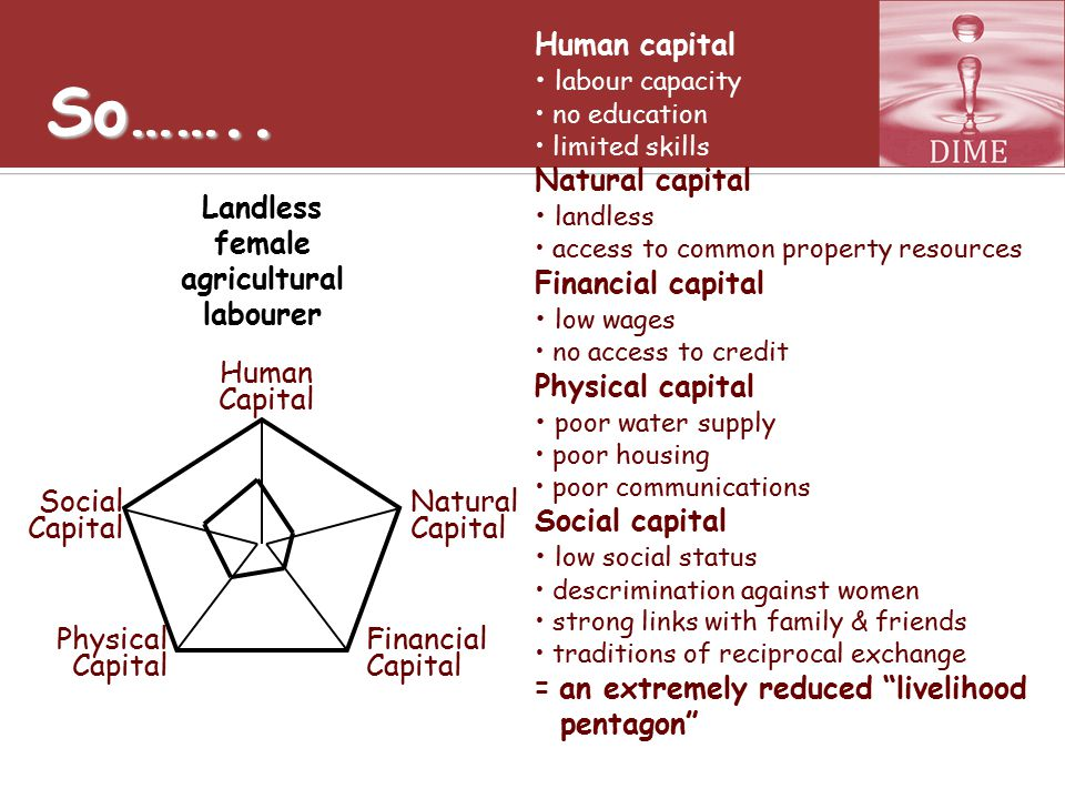 So…….. Human capital labour capacity no education limited skills Natural capital landless access to common property resources Financial capital low wa