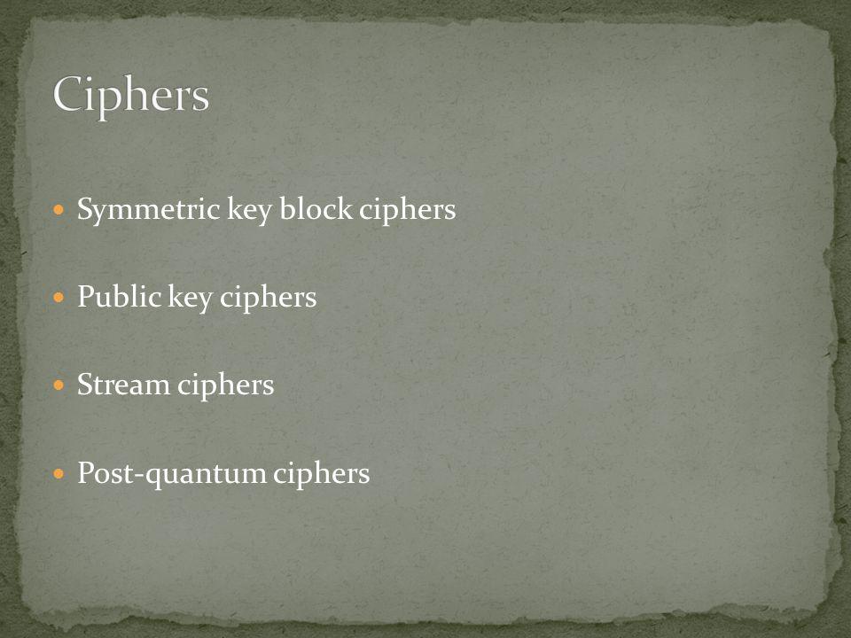 Symmetric key block ciphers Public key ciphers Stream ciphers Post-quantum ciphers