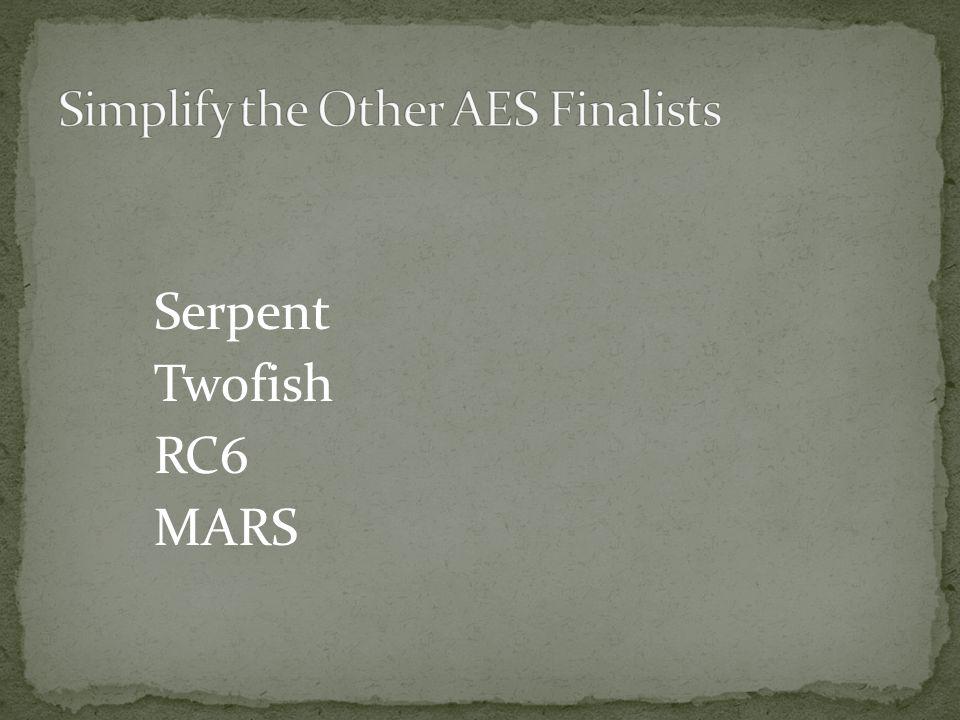 Serpent Twofish RC6 MARS