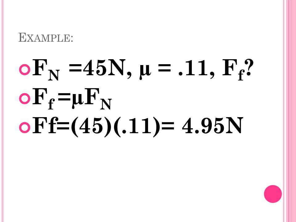 E XAMPLE : F N =45N, µ =.11, F f ? F f =µF N Ff=(45)(.11)= 4.95N