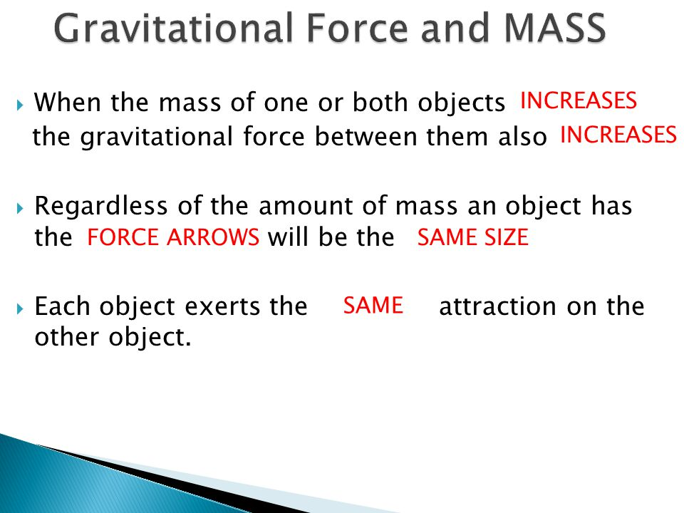  When the mass of one or both objects the gravitational force between them also  Regardless of the amount of mass an object has the will be the  Ea