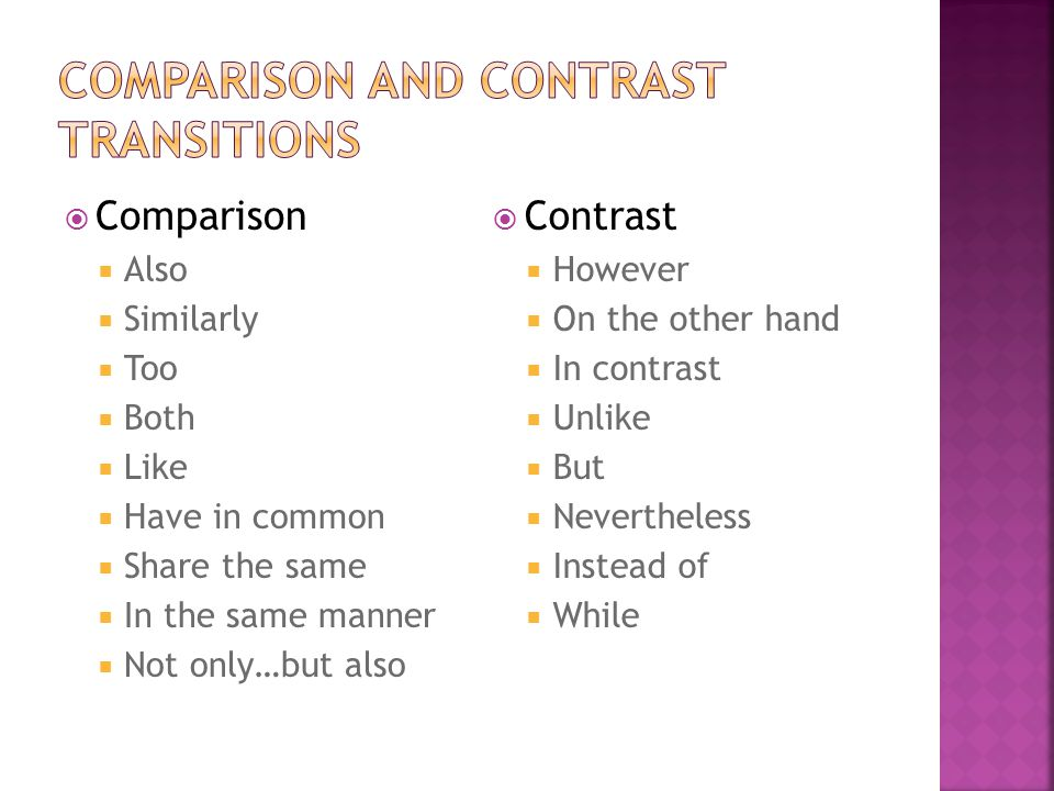  Comparison  Also  Similarly  Too  Both  Like  Have in common  Share the same  In the same manner  Not only…but also  Contrast  However  On the other hand  In contrast  Unlike  But  Nevertheless  Instead of  While