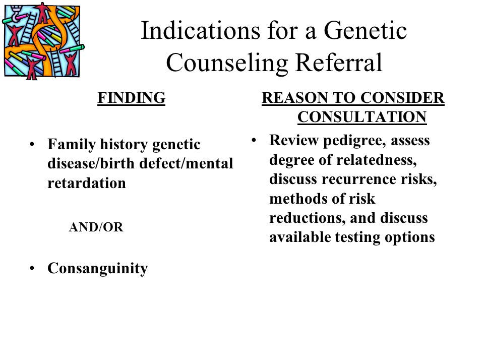 Indications for a Genetic Counseling Referral FINDING Family history genetic disease/birth defect/mental retardation AND/OR Consanguinity REASON TO CO