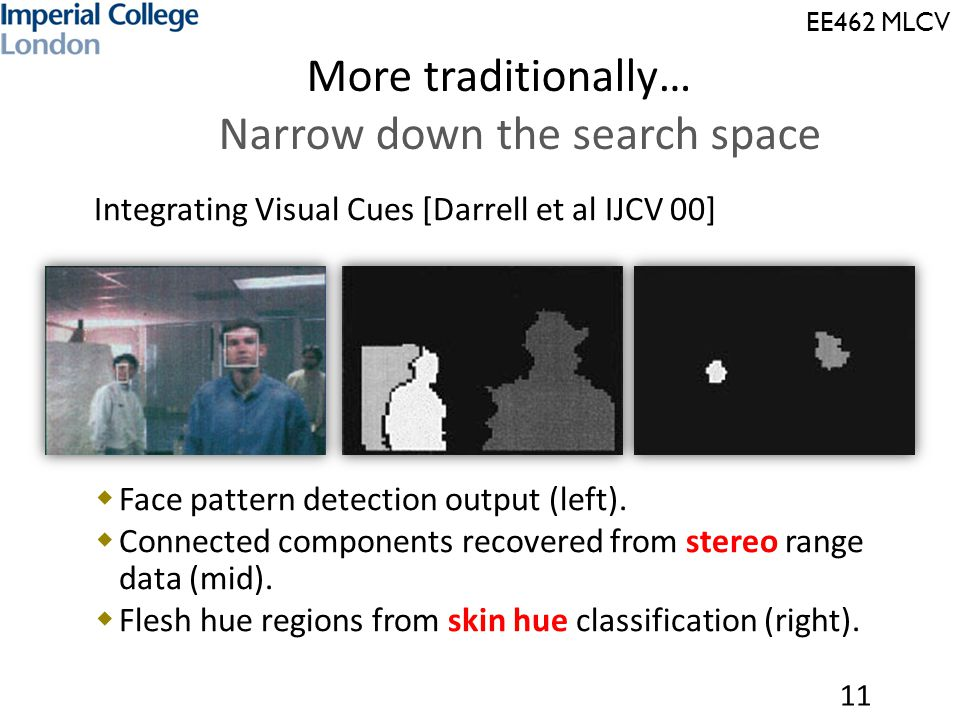 EE462 MLCV  Integrating Visual Cues [Darrell et al IJCV 00]  Face pattern detection output (left).  Connected components recovered from stereo rang