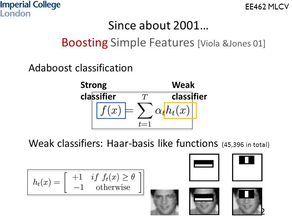EE462 MLCV Since about 2001… Boosting Simple Features [Viola &Jones 01]  Adaboost classification  Weak classifiers: Haar-basis like functions (45,396 in total) 12 Weak classifier Strong classifier