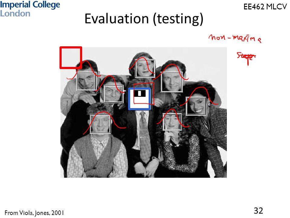 EE462 MLCV Evaluation (testing) 32 From Viola, Jones, 2001