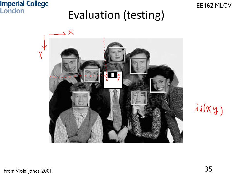 EE462 MLCV Evaluation (testing) 35 From Viola, Jones, 2001