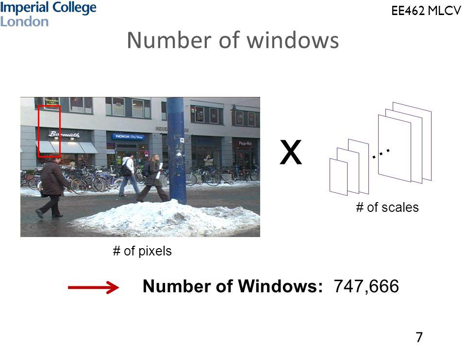 EE462 MLCV Time per window 8 or raw pixels …… dimension D Num of feature vectors: 747,666 …