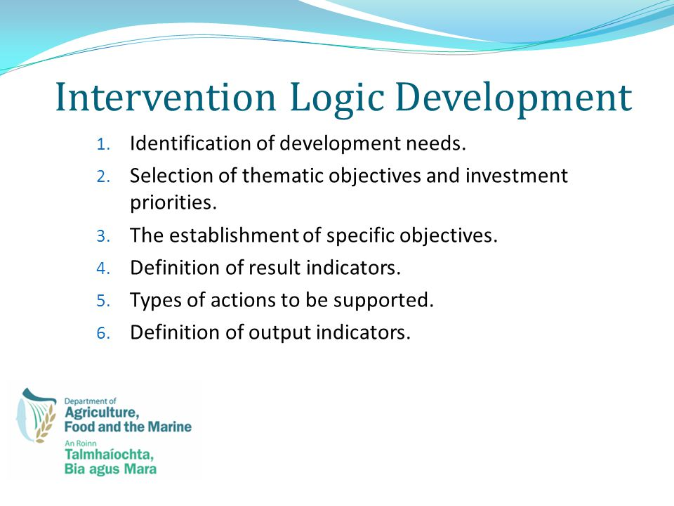 Intervention Logic Development 1. Identification of development needs.