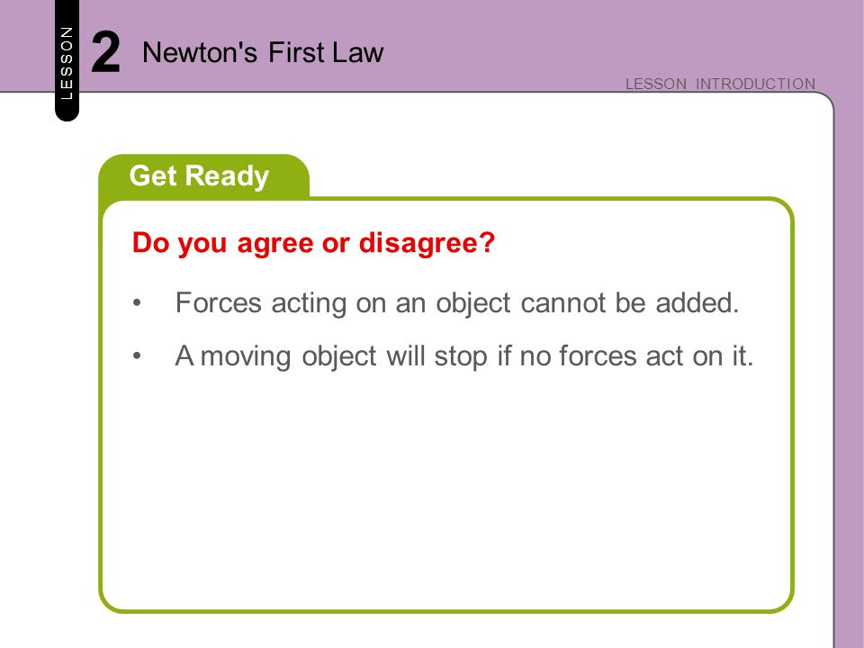 Key Concepts/Essential Questions LESSON LESSON INTRODUCTION 2 Newton s First Law What is Newton's first law of motion.