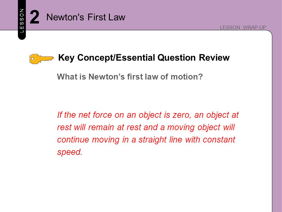 Key Concept/Essential Question Review LESSON LESSON WRAP-UP How is motion related to balanced and unbalanced forces.