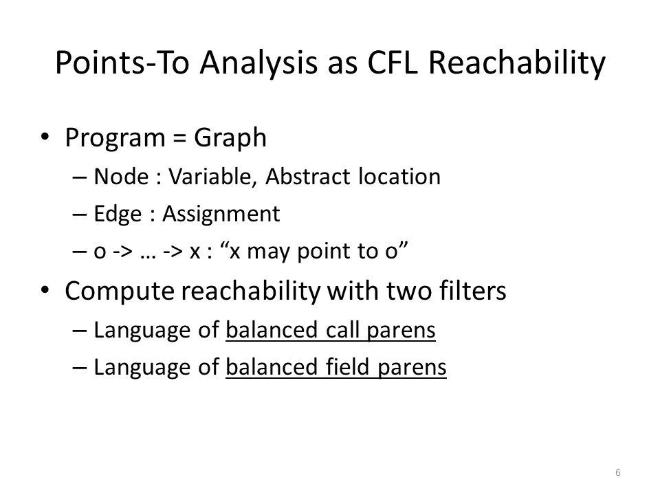 Points-To Analysis as CFL Reachability 7 1) Assignments x = new Obj(); // o 1 y = new Obj(); // o 2 z = x; o1o1 x y z o2o2 a b p id ret id dc (1(1 )1)1 (2(2 )2)2 [f[f [g[g ]f]f 2) Method calls id(p) { return p; } a = id(x); b = id(y); 3) Heap accesses c.f = x; c.g = y; d = c.f; pt(x) = { o | o flowsTo x } flowsTo: balanced call and field parens flowsTo: balanced call parens flowsTo: path exists 7