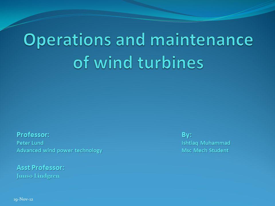 19-Nov-12 Professor:By: Peter LundIshtiaq Muhammad Advanced wind power technologyMsc Mech Student Asst Professor: Juuso Lindgren