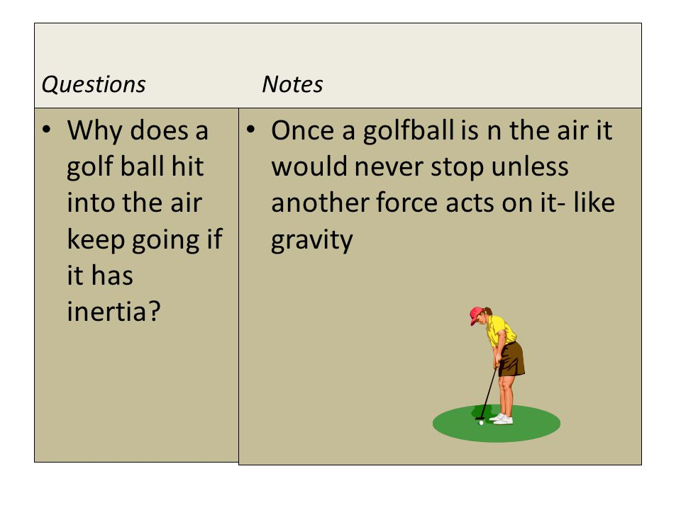 1 ST LAW examples Golf Ball - once airborne it would never stop.