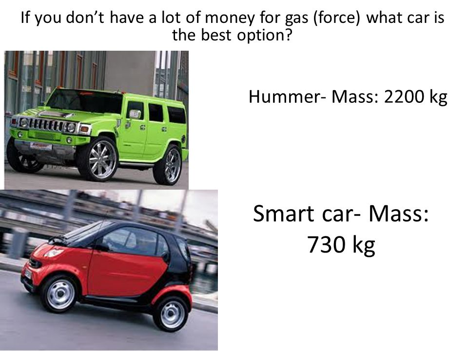 Smart car- Mass: 730 kg Hummer- Mass: 2200 kg How much force does it take to accelerate a hummer and a smart car 10m/s/s.