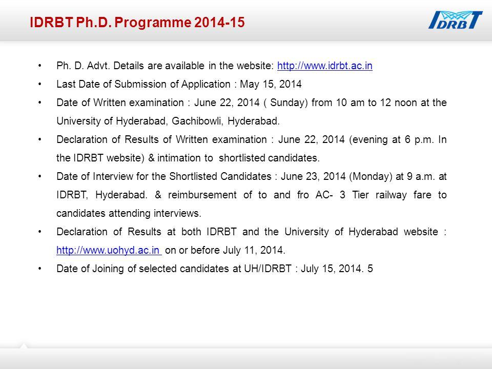 IDRBT Ph.D. Programme 2014-15 Ph. D. Advt.
