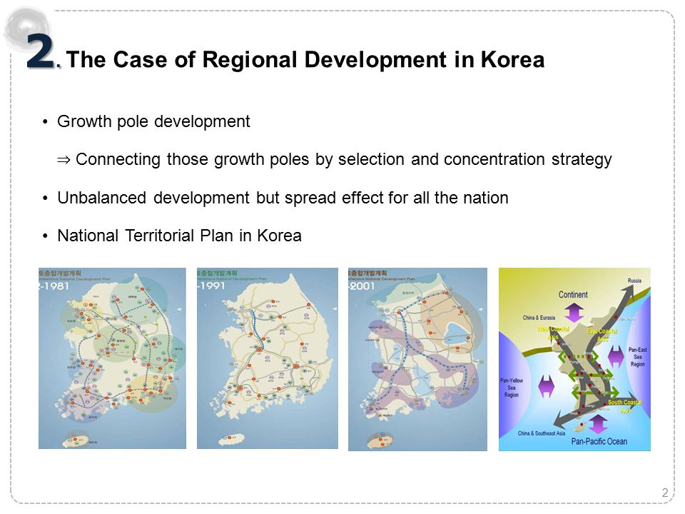 The First Comprehensive National Territorial Plan (1972- 1981) Maximize the growth potential with limited resources 1.