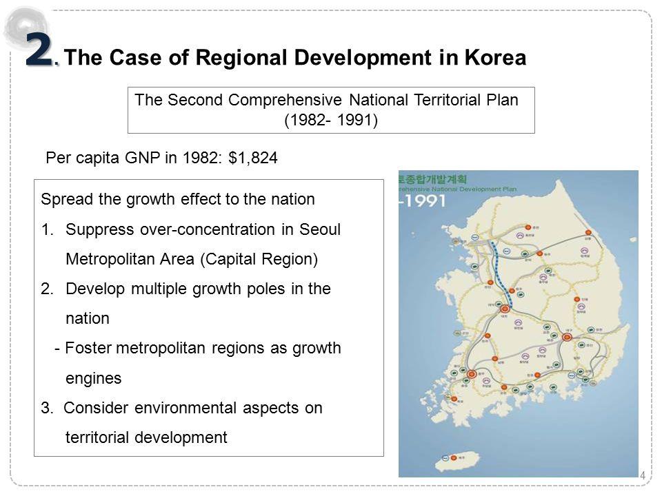 2. 2. The Case of Regional Development in Korea The Second Comprehensive National Territorial Plan (1982- 1991) Per capita GNP in 1982: $1,824 4 Sprea