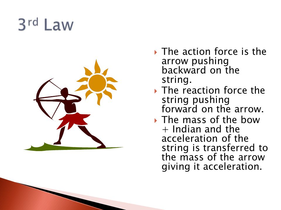  The action force is the arrow pushing backward on the string.  The reaction force the string pushing forward on the arrow.  The mass of the bow +
