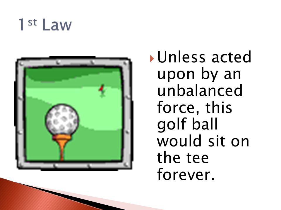  Unless acted upon by an unbalanced force, this golf ball would sit on the tee forever.