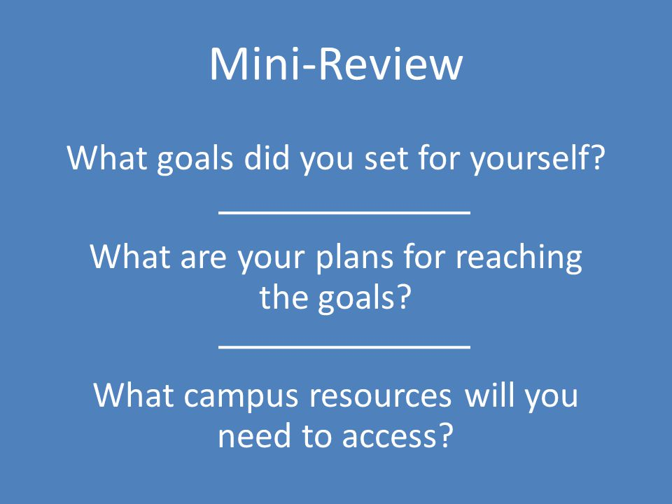 Mini-Review What goals did you set for yourself. What are your plans for reaching the goals.