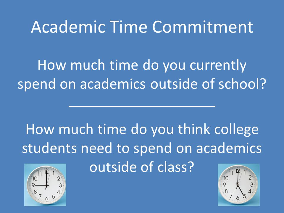 Academic Time Commitment How much time do you currently spend on academics outside of school.