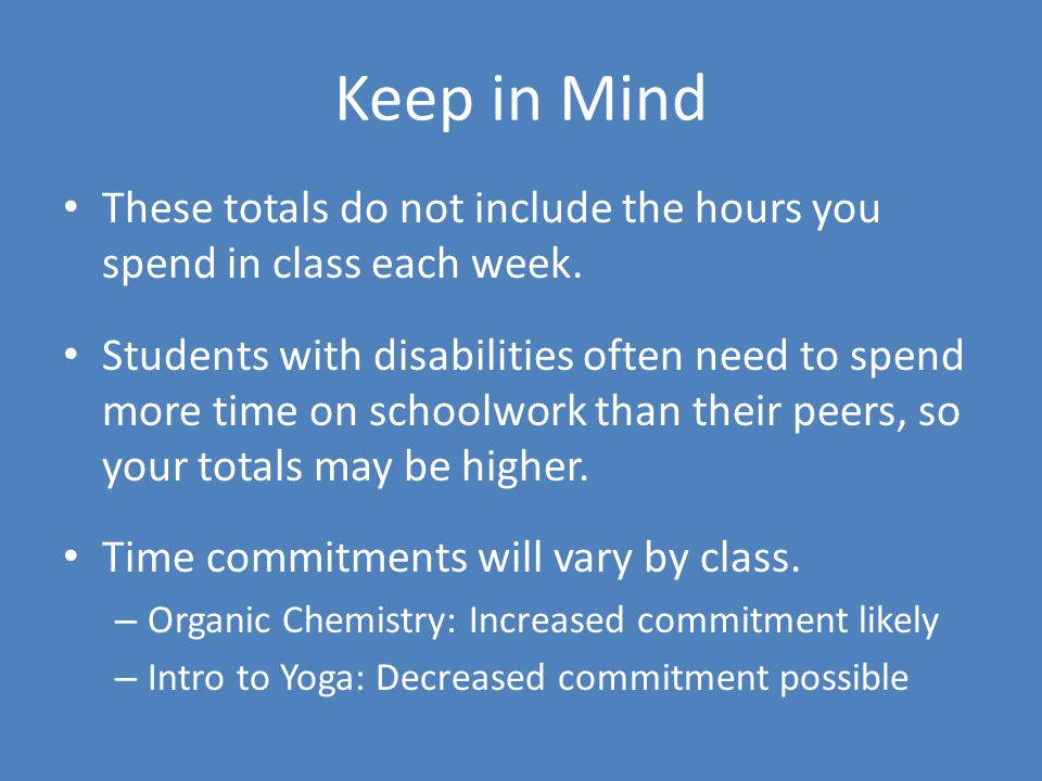 Keep in Mind These totals do not include the hours you spend in class each week.