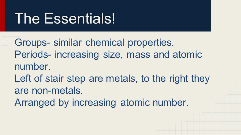 The Essentials! Groups- similar chemical properties. Periods- increasing size, mass and atomic number. Left of stair step are metals, to the right the