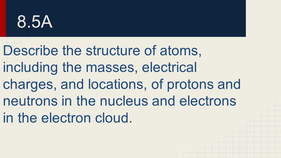 8.5A Describe the structure of atoms, including the masses, electrical charges, and locations, of protons and neutrons in the nucleus and electrons in