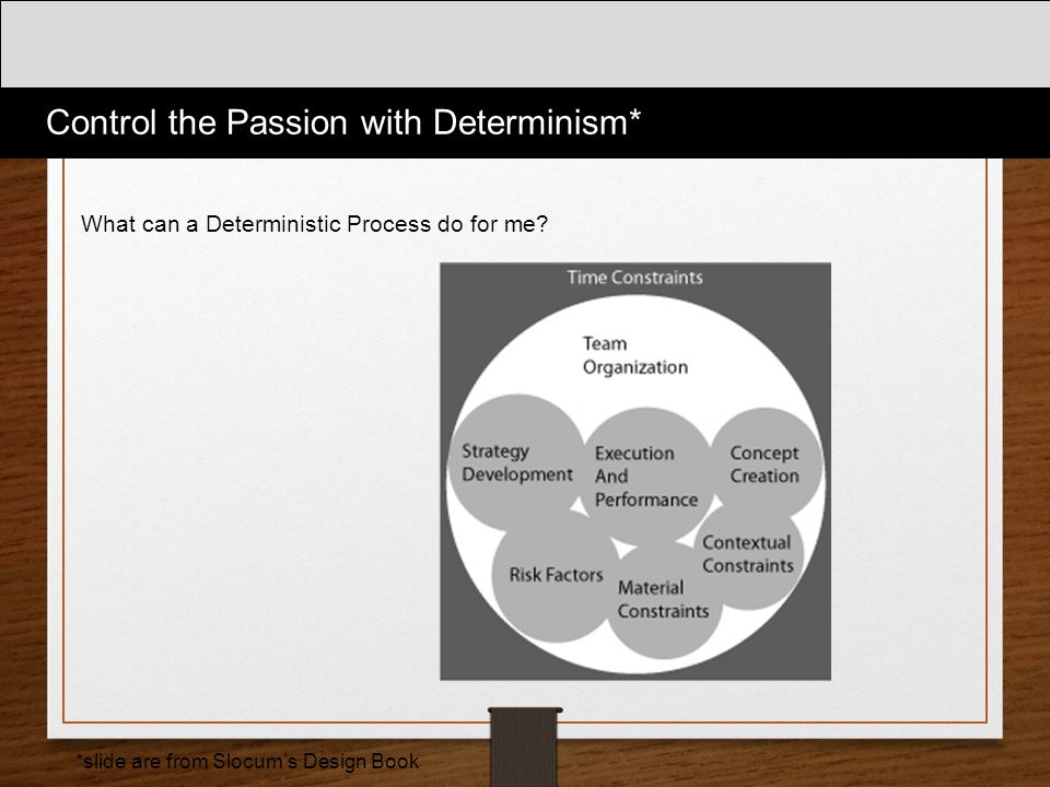 What can a Deterministic Process do for me? Control the Passion with Determinism* *slide are from Slocum's Design Book