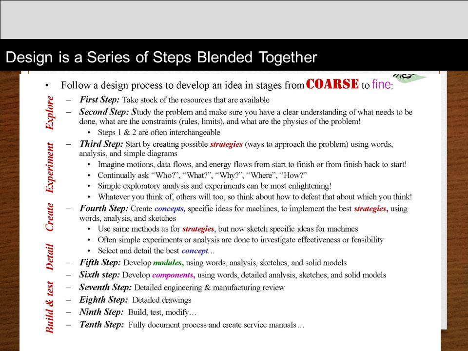 Design is a Series of Steps Blended Together