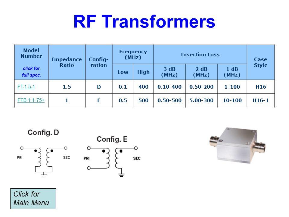 RF Transformers Model Number click for full spec.