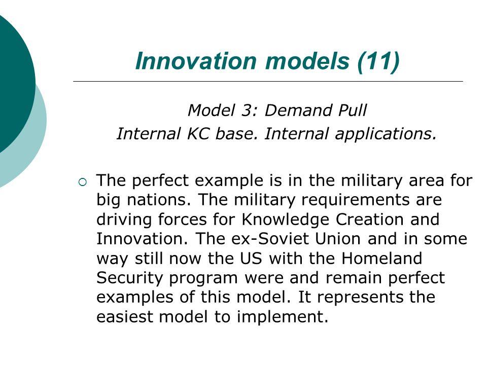 Innovation models (11) Model 3: Demand Pull Internal KC base.