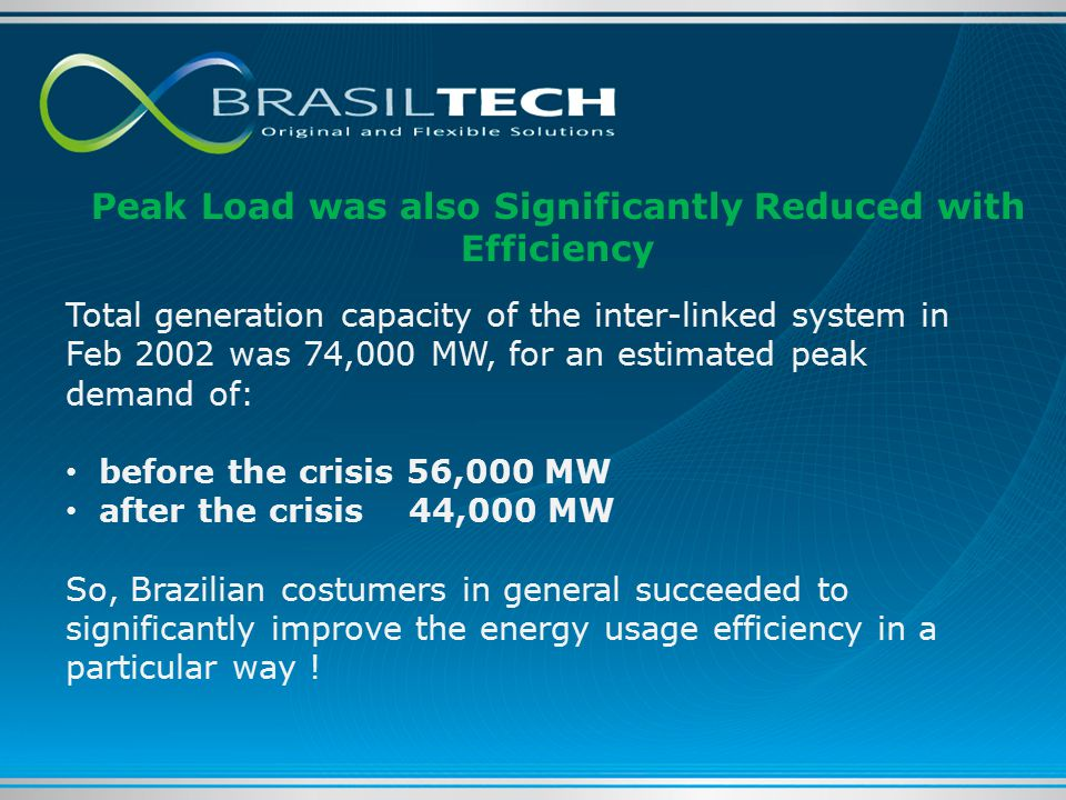 Total generation capacity of the inter-linked system in Feb 2002 was 74,000 MW, for an estimated peak demand of: before the crisis 56,000 MW after the crisis 44,000 MW So, Brazilian costumers in general succeeded to significantly improve the energy usage efficiency in a particular way .