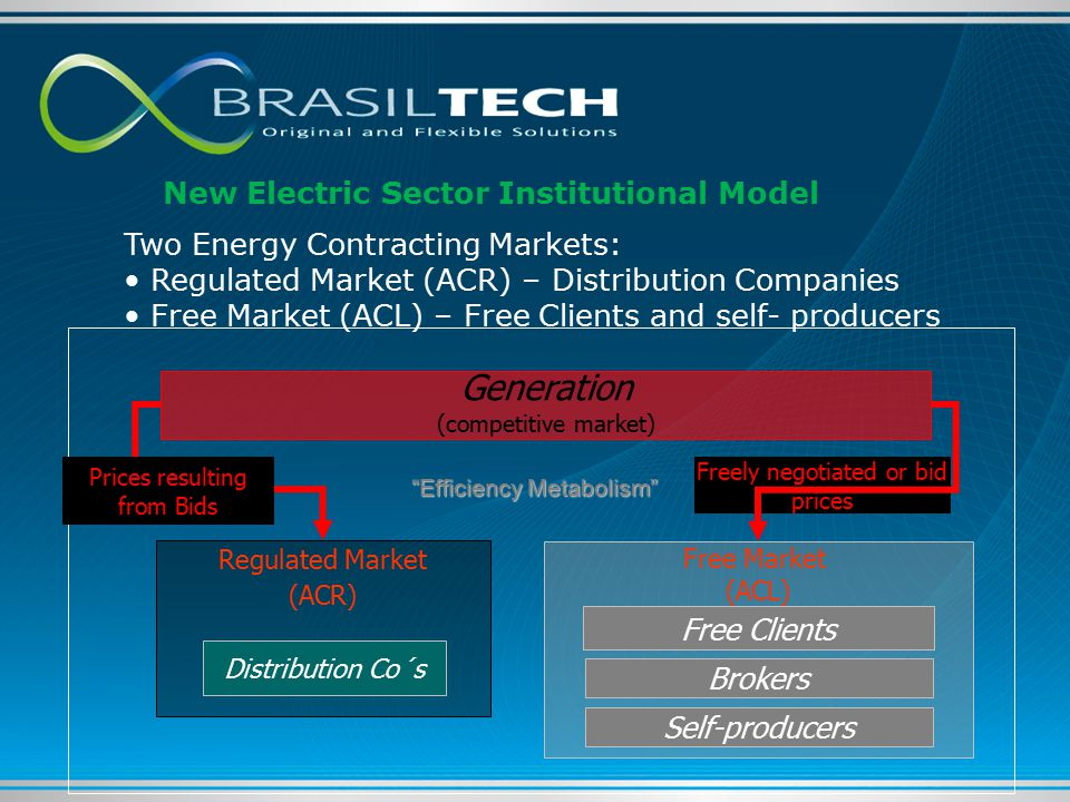 Freely negotiated or bid prices Generation (competitive market) Regulated Market (ACR) Free Market (ACL) Prices resulting from Bids Distribution Co´s Free Clients Brokers Two Energy Contracting Markets: Regulated Market (ACR) – Distribution Companies Free Market (ACL) – Free Clients and self- producers Efficiency Metabolism Self-producers New Electric Sector Institutional Model