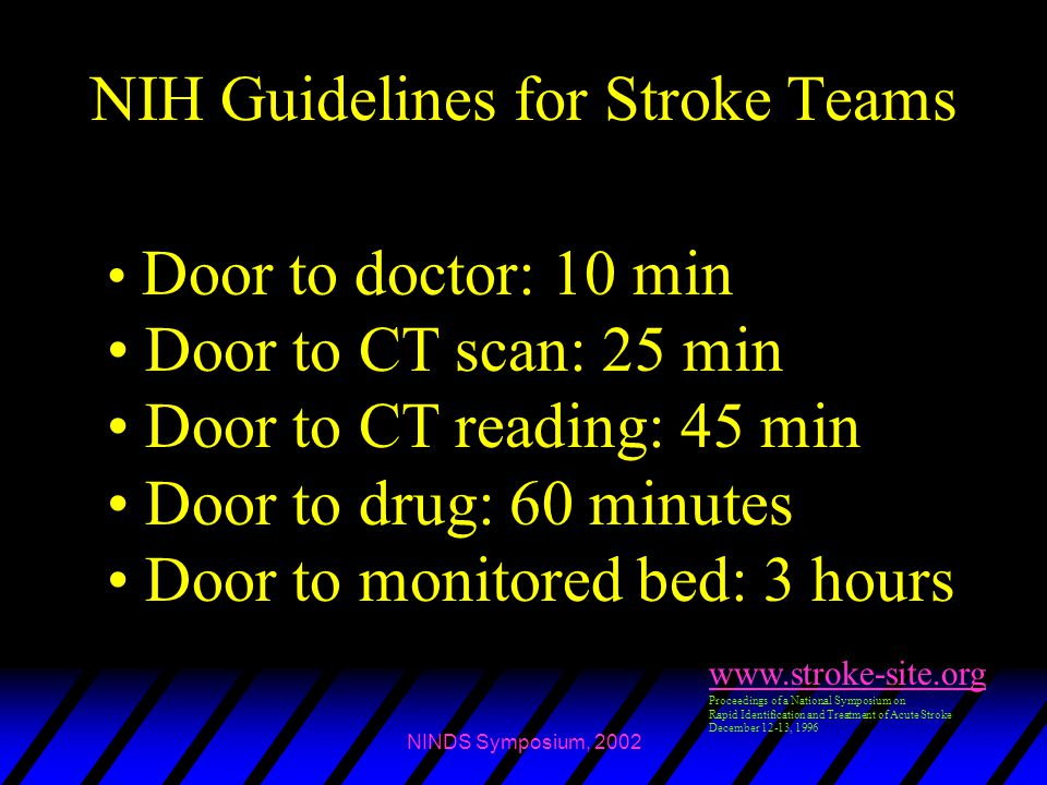 NINDS Symposium, 2002 NIH Guidelines for Stroke Teams www.stroke-site.org Proceedings of a National Symposium on Rapid Identification and Treatment of