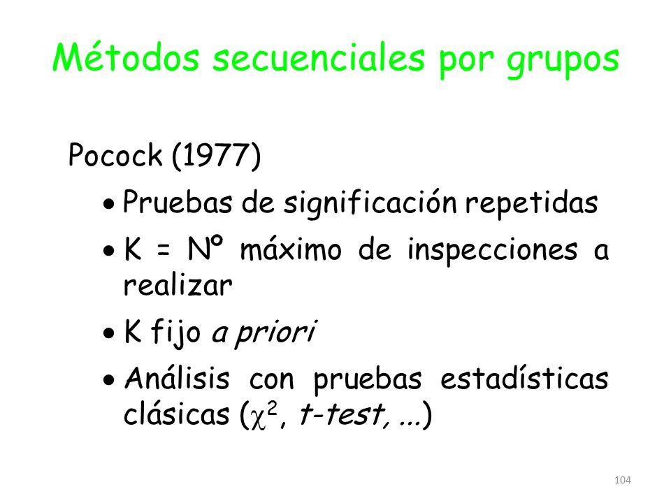 104 Métodos secuenciales por grupos Pocock (1977)  Pruebas de significación repetidas  K = Nº máximo de inspecciones a realizar  K fijo a priori 
