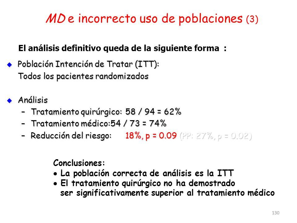 130 MD e incorrecto uso de poblaciones (3) El análisis definitivo queda de la siguiente forma :  Población Intención de Tratar (ITT): Todos los pacie
