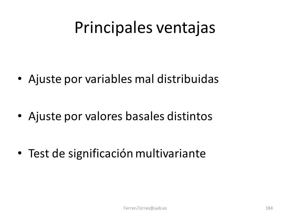 Ferran.Torres@uab.es184 Principales ventajas Ajuste por variables mal distribuidas Ajuste por valores basales distintos Test de significación multivar