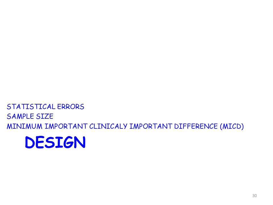 DESIGN STATISTICAL ERRORS SAMPLE SIZE MINIMUM IMPORTANT CLINICALY IMPORTANT DIFFERENCE (MICD) 30