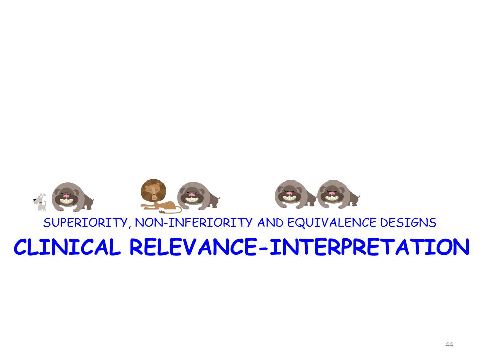 CLINICAL RELEVANCE-INTERPRETATION SUPERIORITY, NON-INFERIORITY AND EQUIVALENCE DESIGNS 44
